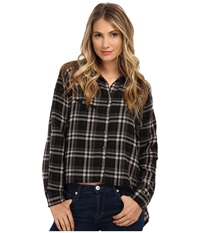 Blank Nyc Plaid Assymetrical Shirt Black White Women's Clothing