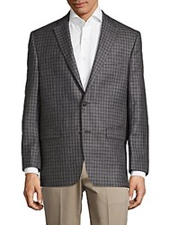 Lauren Ralph Lauren Check Pattern Wool Blend Jacket Grey