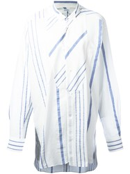 Loewe Striped Relaxed Blouse Women Cotton Linen Flax 32 White