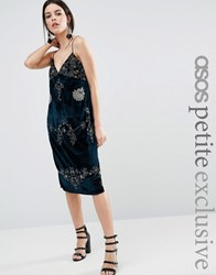 Asos Petite Velvet Cami Dress With Embellished Detail Navy