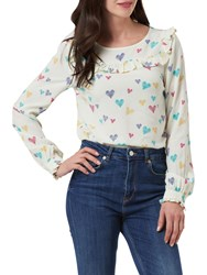 Sugarhill Boutique Jessie Scribble Hearts Frill Top Cream