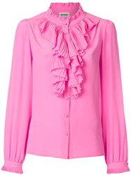 Zadig And Voltaire Tacco Ruffle Trim Shirt Pink And Purple