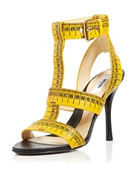 Moschino T Strap Sandals Ruler High Heel Yellow