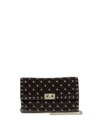 Valentino Rockstud Small Quilted Velvet Wallet On Chain Black