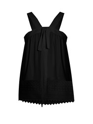 N 21 Geometric Lace Hem Georgette Top Black
