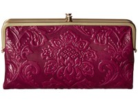 Hobo Lauren Damask Embossed Red Plum Clutch Handbags