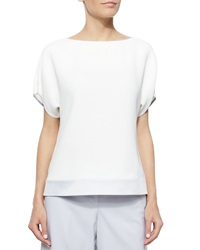 Lafayette 148 New York Contessa Short Sleeve Silk Blouse W Contrast Trim