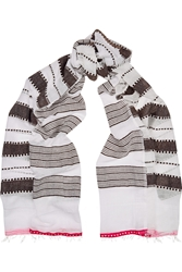 Lemlem Tebteb Striped Cotton Blend Scarf Brown