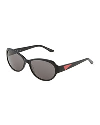 Thierry Mugler Black Acetate Oval Sunglasses
