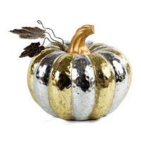 Mackenzie Childs Silver And Gold Pumpkin Ornament Gold Silver