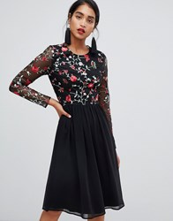 Chi Chi London 2 In 1 Embroidered Skater Dress With Chiffon Skirt Multi