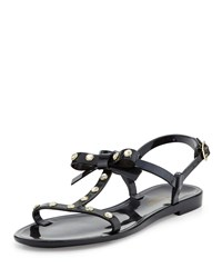 Kate Spade Savannah Jeweled T Strap Flat Jelly Sandal Black Women's