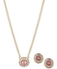 Givenchy 3 Pc. Gold Tone Pink Crystal Pave Pendant Necklace And Stud Earrings Set