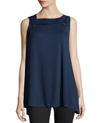 Max Studio Twist Neck Sleeveless Top Dark Navy
