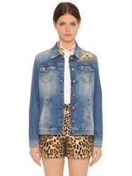 Red Valentino Bird Patches Cotton Denim Jacket