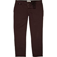 River Island Mens Dark Plum Red Slim Leg Turn Up Chinos