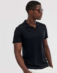 Selected Homme Revere Collar Polo Shirt In Black Organic Cotton