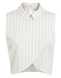 Miss Selfridge Pinstriped Crossover Shell White