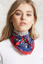 Forever 21 Paisley Square Scarf Navy White