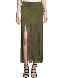 Theperfext Mimi Maxi Skirt W Fringe Army Green