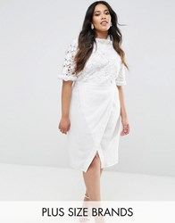 Truly You Lace Bodice Pencil Dress With Ruffle Neck And Wrap Skirt White