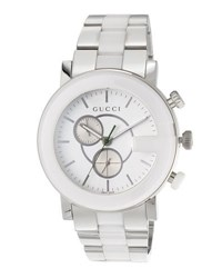 Gucci 44Mm G Chrono Ceramic Watch W Bracelet Strap White