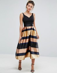 Coast Red Carpet Ria Metallic Stripe Dress Gold Multi