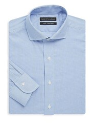 Saks Fifth Avenue Black Slim Fit Gingham Cotton Dress Shirt Blue