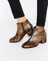 Vagabond Daisy Bronze Metallic Heeled Ankle Boots Bronze Gold