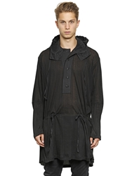 Ann Demeulemeester Hooded Lightweight Cotton Jersey Jacket Black