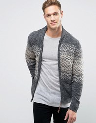 Jack And Jones Vintage Zip Through Chunky Cardigan With Fairisle Dark Grey