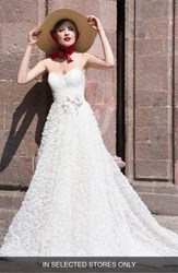Watters Caerwyn Silk Lace And Dotted Tulle Strapless Ballgown Light Ivory