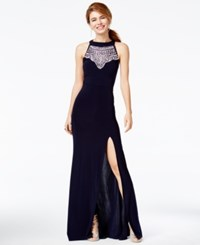 B. Darlin B Juniors' Jeweled Open Back Halter Gown Navy Silver