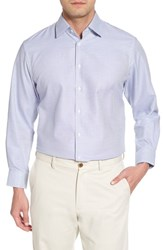 Nordstrom 'S Big And Tall Men's Shop Traditional Fit Microcheck Dress Shirt Blue Surf