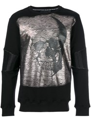 Philipp Plein Metallic Skull Print Top Men Cotton Polyester Polyurethane Xxl Black