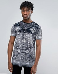 Asos T Shirt In Premium Velvet With Tonal Grey Aztec Print Grey