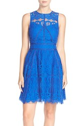 Women's Adelyn Rae Sleeveless Lace Fit And Flare Dress Electric Blue