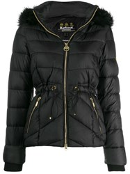 Barbour Fur Hooded Jacket Black