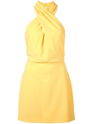 Halston Heritage Fitted Crossneck Dress Yellow