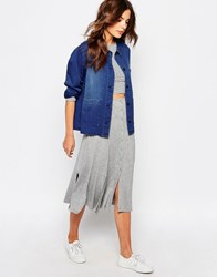 Vila Button Down Midi Skirt Light Grey Marl
