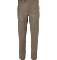 Thom Sweeney Grey Brook Slim Fit Houndstooth Wool And Cashmere Blend Suit Trousers Beige