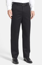 Nordstrom Big And Tall Shop 'Classic' Smartcare Tm Relaxed Fit Flat Front Cotton Pants Black