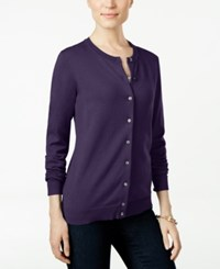 Karen Scott Long Sleeve Cardigan Only At Macy's Purple Dynasty