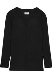 Frame Ribbed Silk And Cashmere Blend Top Black