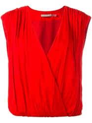 Alice Olivia Sleeveless Wrap Top Red
