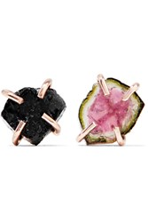 Melissa Joy Manning 14 Karat Rose And Yellow Gold Tourmaline Earrings Rose Gold