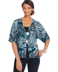 Jm Collection Two Button Short Sleeve Cardigan