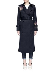 Victoria Beckham Orchid Embroidered Gabardine Trench Coat Black