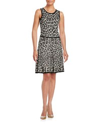 Trina Turk Huxley Leopard Knit A Line Dress Grey Multi
