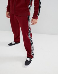 Dc Shoes Joggers With Logo Taping In Burgundy Red
